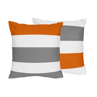 Sweet Jojo Designs Grey and Orange Stripe Collection Microfiber 18-inch Accent Throw Pillows (Set of 2)