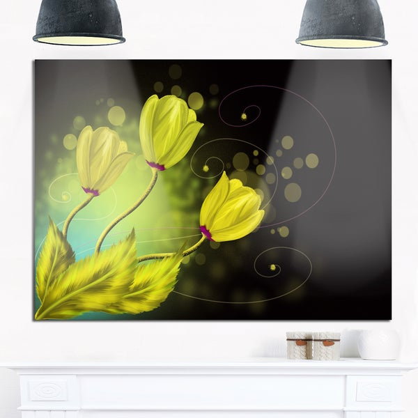 Golden Flowers Greeting Card - Floral Art Glossy Metal Wall Art