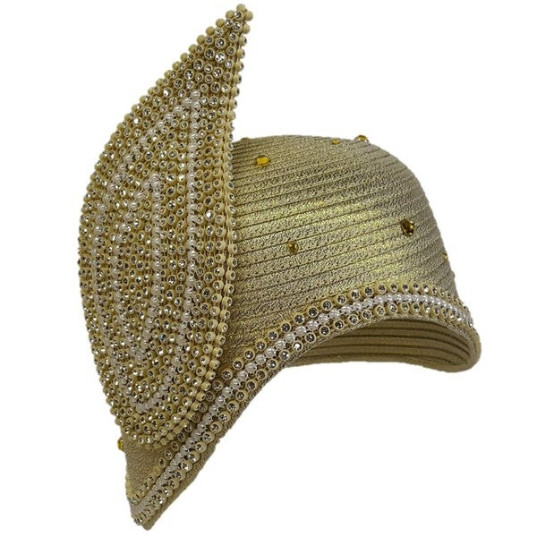 Swan Hat Gold-tone Embellished Couture Flapper Hat