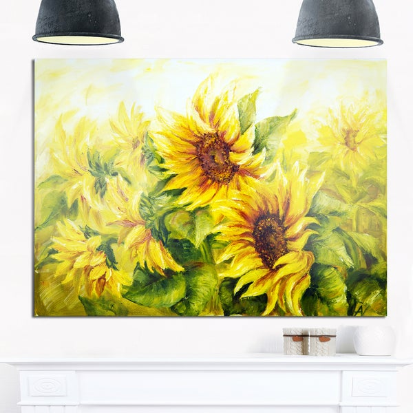 Bright Yellow Sunny Sunflowers - Floral Painting Glossy Metal Wall Art