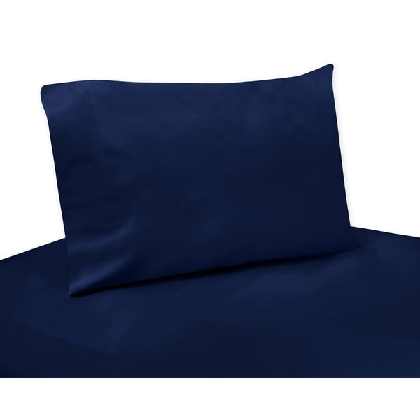 Sweet Jojo Designs Blue and Grey Striped Collection Solid Navy Blue 4-piece Sheet Set
