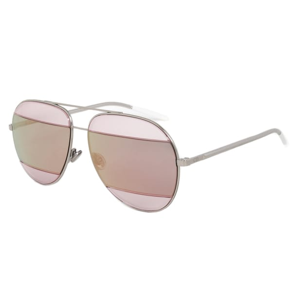 Christian Dior Split 2 Sunglasses 0100J Palladium Frame Pink Mirrored Lens Size 59(As Is Item)