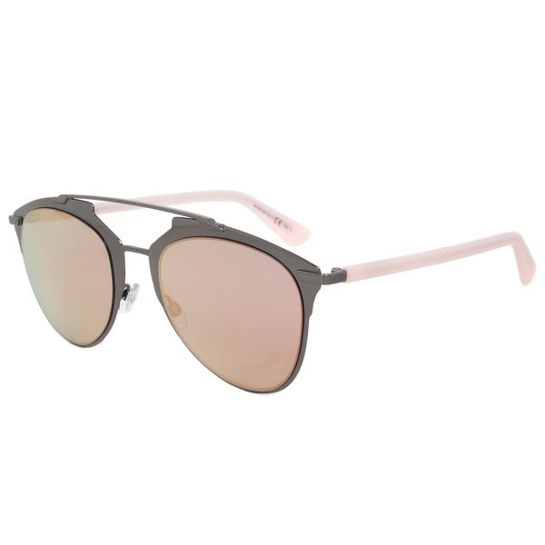 Christian Dior Reflected Sunglasses XY20J Dark Ruthenium Frame Cyan Rose Flash Mirror Lens