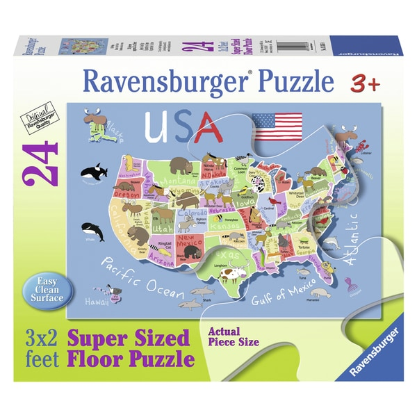 "Ravensburger 05385 36"" X 24"" USA Map Floor Puzzle 24 Piece"