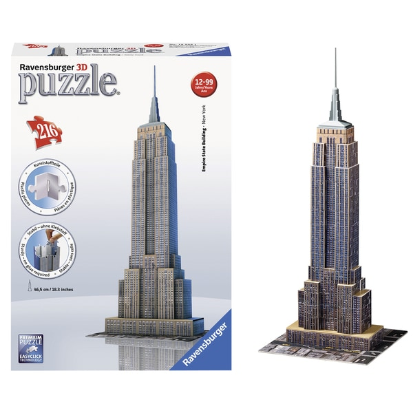 "Ravensburger 12553 18"" 3D Empire State Building 216 Piece Puzzle"