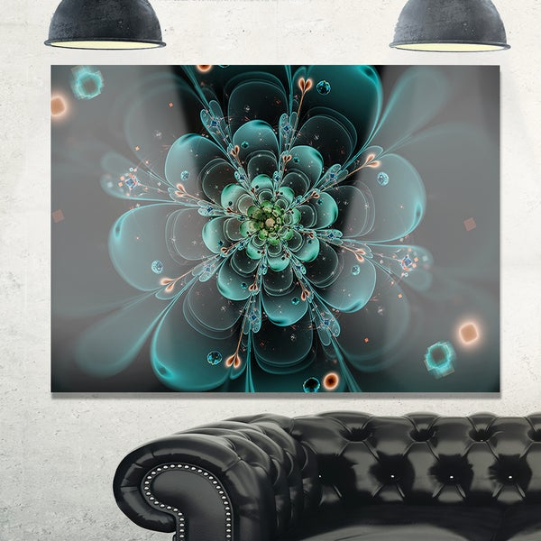 Full Bloom Fractal Flower in Blue - Large Flower Glossy Metal Wall Art 21035067