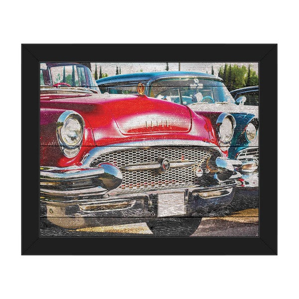Vintage Rides' Black Plastic Framed Canvas Wall Art