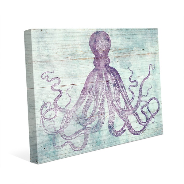 Vintage Octopus Mauve Canvas Wall Art 21035850