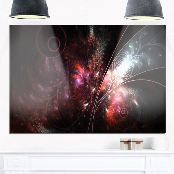 Dark Alien Digital Art Fractal Flower - Large Floral Glossy Metal Wall Art