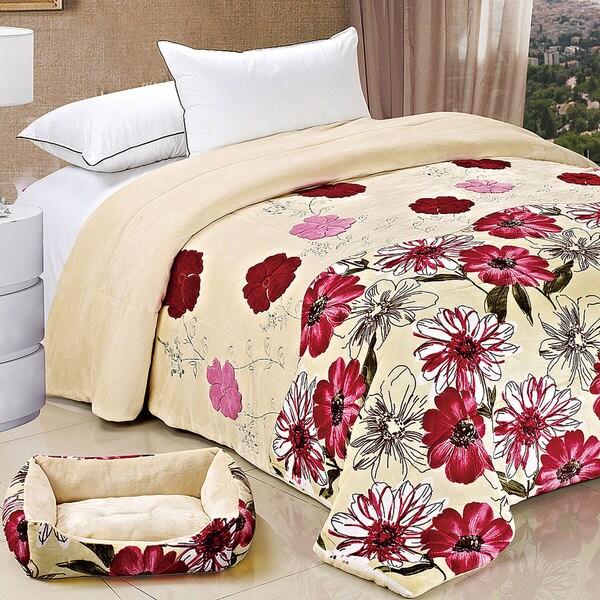 Serenta Applique Queen-size Flannel Fleece Blanket