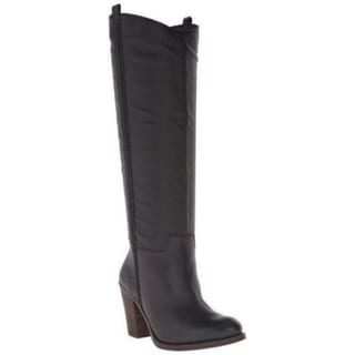 Lucky Brand Women's Ebbie Black Leather Stacked Heel Pull-on Knee-high Western Boots