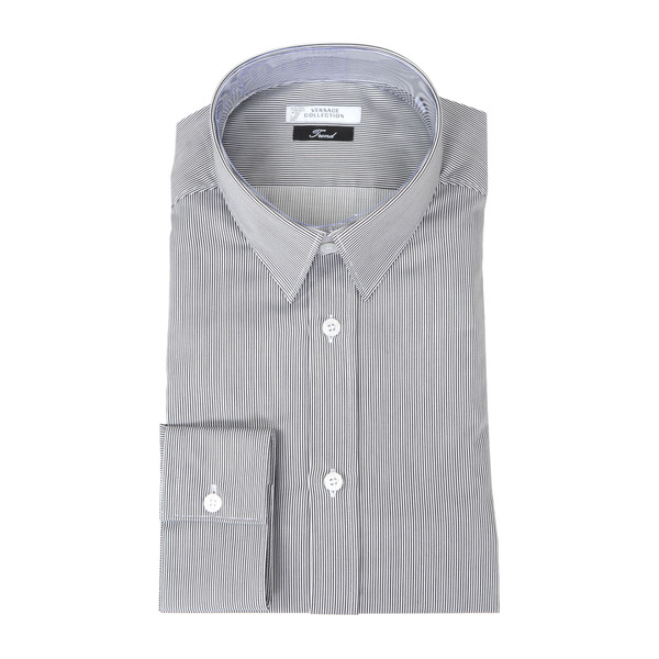 Versace Collection Grey/ White Pinstripe Trend Fit Dress Shirt