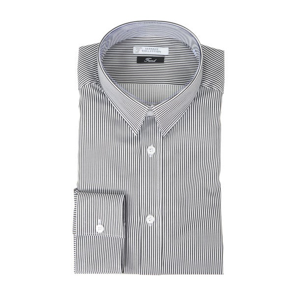 Versace Collection Thin Grey Stripe Trend Fit Dress Shirt