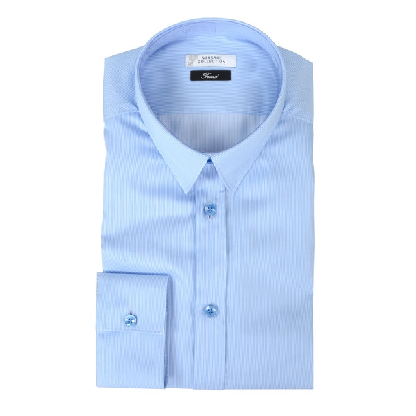 Versace Collection Blue Pinstripe Trend Fit Dress Shirt