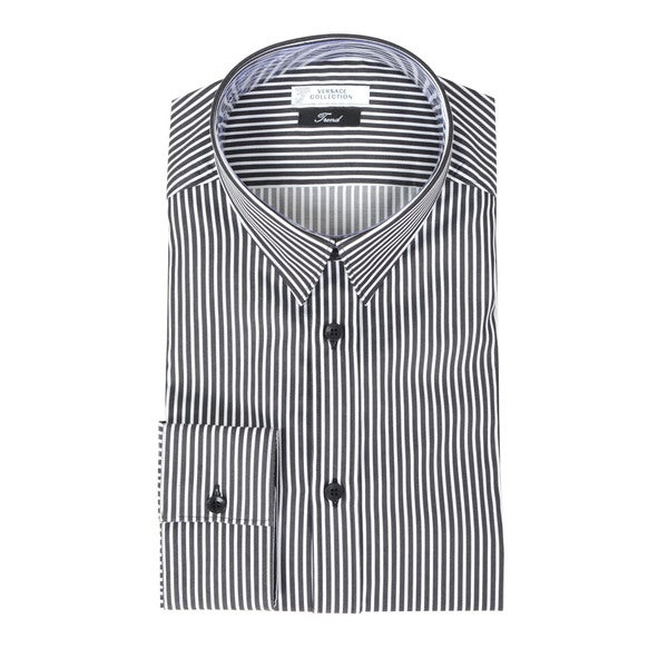 Versace Collection Grey Stripe Trend Fit Dress Shirt