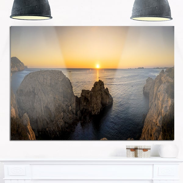 Ibiza Island Mediterranean Sunset - Landscape Glossy Metal Wall Art