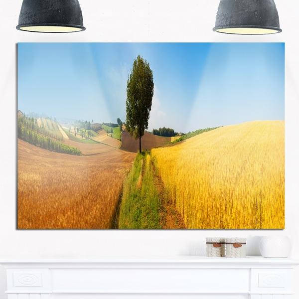 Tuscany Wheat Field Hill Panorama - Landscape Glossy Metal Wall Art