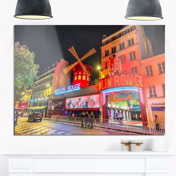 Moulin Rouge by Night - Cityscape Photography Glossy Metal Wall Art
