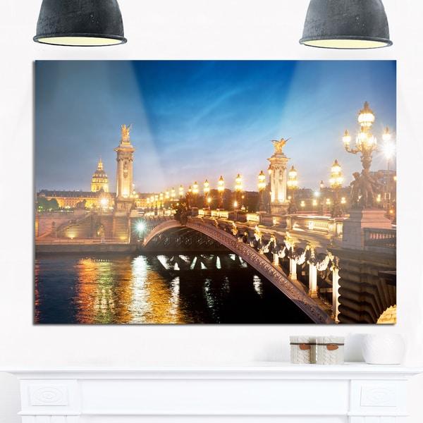 Pont Alexandre III Bridge - Cityscape Photo Glossy Metal Wall Art 21040292