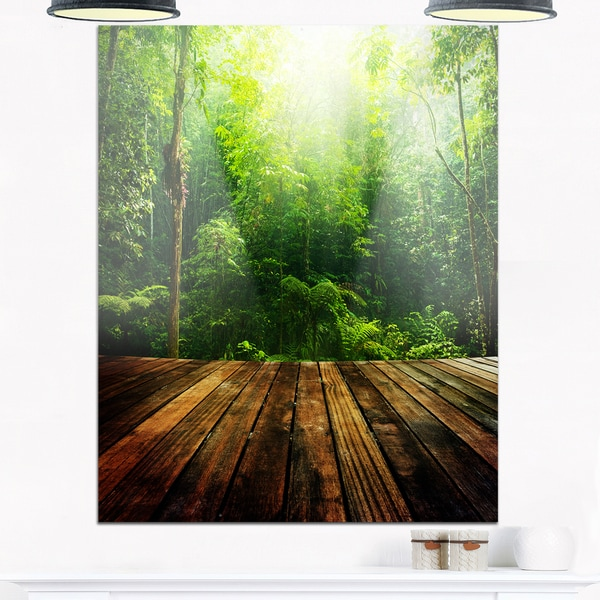 Green Forest with Ray of Light - Landscape Photo Glossy Metal Wall Art 21040640