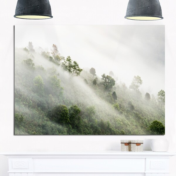 Mystical Foggy Mountain Slope - Landscape Photo Glossy Metal Wall Art