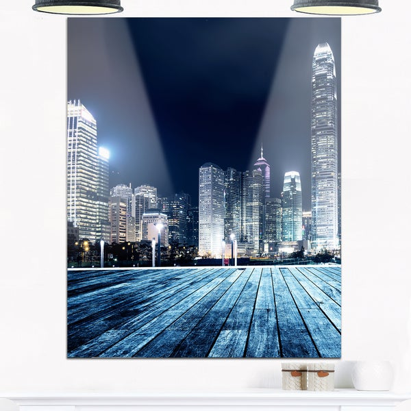 Blue Hong Kong City Skyline - Cityscape Glossy Metal Wall Art