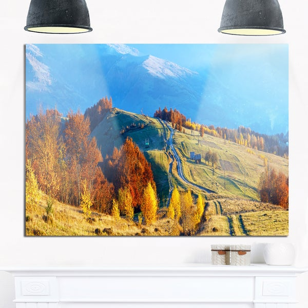 Rural Road on Autumn Mountains - Landscape Glossy Metal Wall Art
