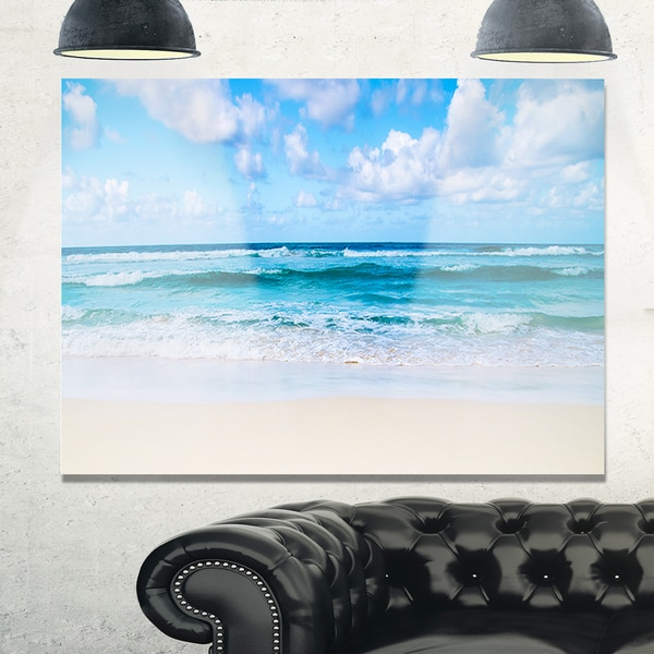 Serene Blue Tropical Beach - Large Seashore Glossy Metal Wall Art