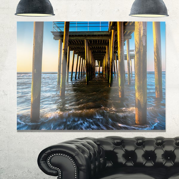 Fishing Pier and Waves at Atlantic Sea - Sea Pier and Bridge Glossy Metal Wall Art