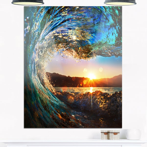 Colored Ocean Waves Falling Down - Modern Seashore Glossy Metal Wall Art