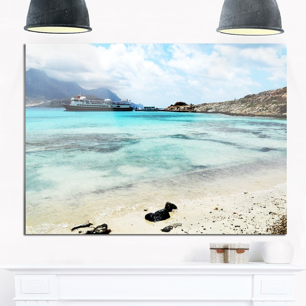 Blue Crete Island in Greece - Seashore Glossy Metal Wall Art