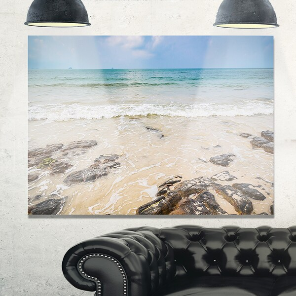Rocks on Typical Tropical Beach - Beach Glossy Metal Wall Art