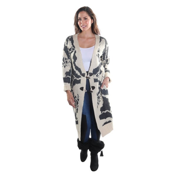 Hadari Women's V-Neck Button Down Long Sleeve Cardigan Sweater with Floral Print and Side Pockets