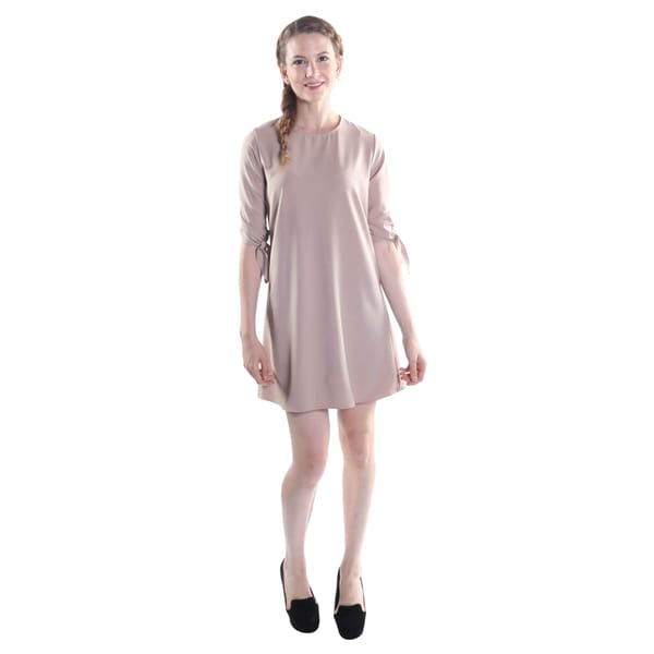 Hadari Women's Round Collar 3/4 Sleeve with Ascent Boe Mini Shift Dress