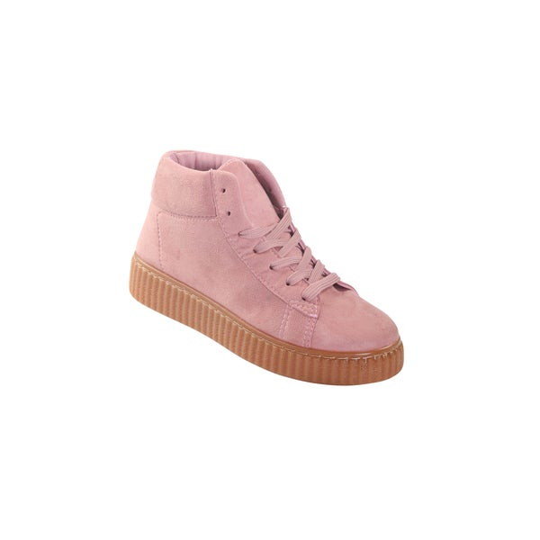 Hadari Womens Pink Rematch High Top Frontal Lace Suede Sneakers
