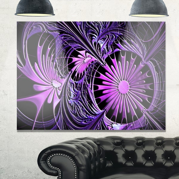 Embossed Purple Floral Shapes - Large Floral Glossy Metal Wall Art
