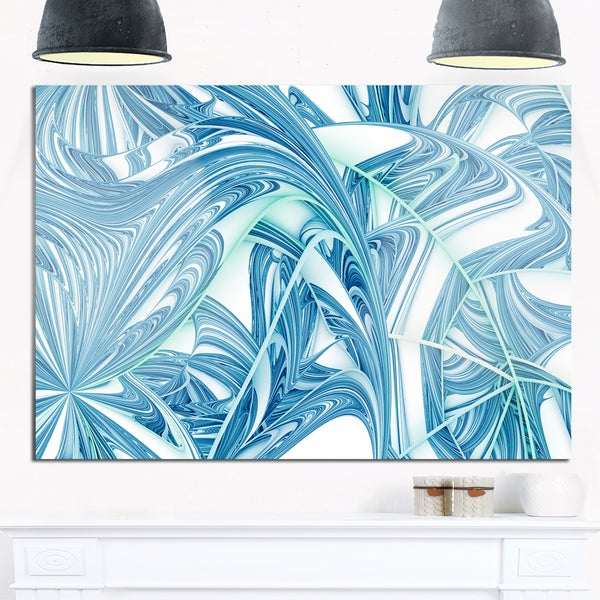 Unique Blue Fractal Design Pattern - Oversized Abstract Glossy Metal Wall Art 21055452