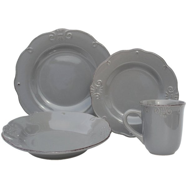 Melange Antique Edge Grey Porcelain 32-piece Stoneware Dinner Set