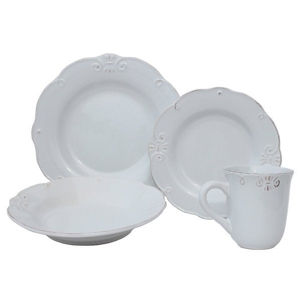 Melange Antique Edge White Porcelain 32-piece Stoneware Dinner Set