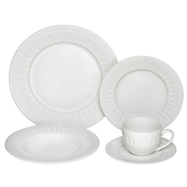Melange English Lace 40-piece Ivory Premium Dinnerware Place Setting