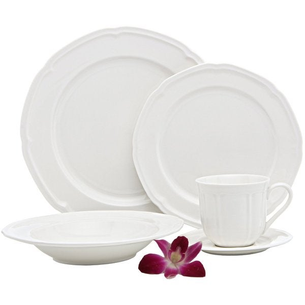 Melange French Riviera White Premium Dinnerware Place Setting (40 Piece)