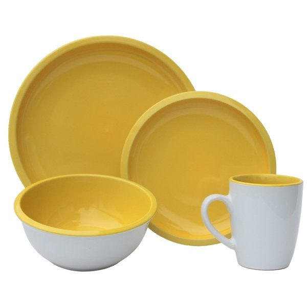Melange Contempo Cantina Sunflower Two-Tone Stoneware Dinner Set Place Setting (16-Piece)