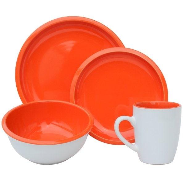 Melange Paprika Stoneware 16-piece Contempo Cantina 2-tone Dinner Set (Place Setting for 4)
