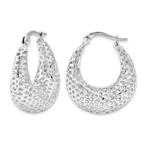 14k White Gold Mesh Oval Hoops