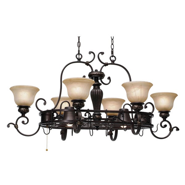 Golden Lighting #6029-PR62 EB Jefferson 8-light Pot Rack