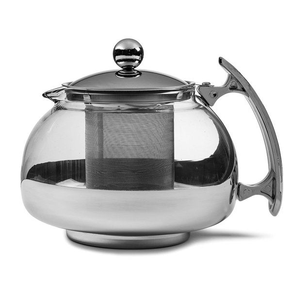 Chef's Star Premium Stainless Steel and Borosilicate Glass 16-ounce Capacity Glass Teapot and Infuser