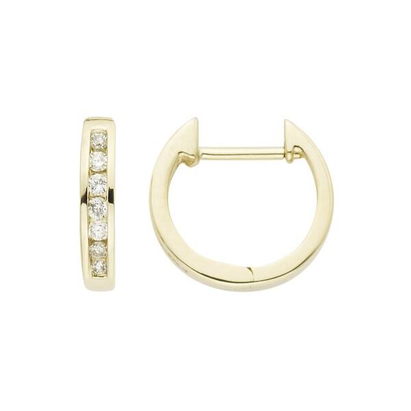 Boston Bay Diamonds 14k Gold 1/7ct TDW Channel-set Diamond Hoop Earrings (H-I, I1-I2)