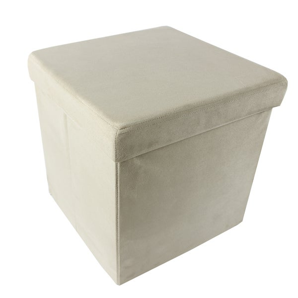 Collapsible Suede 15 x 15 x 15 Storage Ottoman