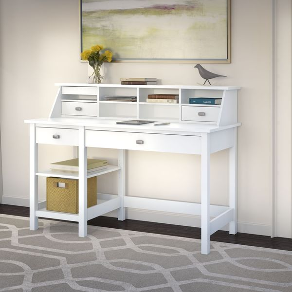 Broadview Computer Desk with Open Storage and Desktop Organizer in Pure White
