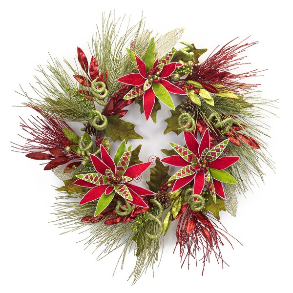 Long Needle Pine Wreath With Poinsettia